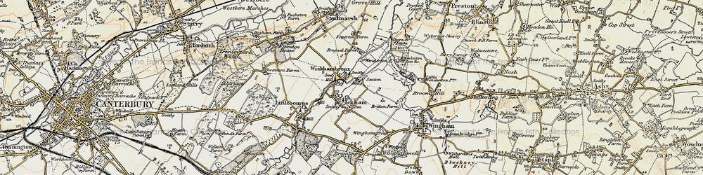 Old map of Wickhambreaux in 1898-1899