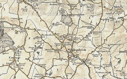 Old map of Wickhambrook in 1899-1901