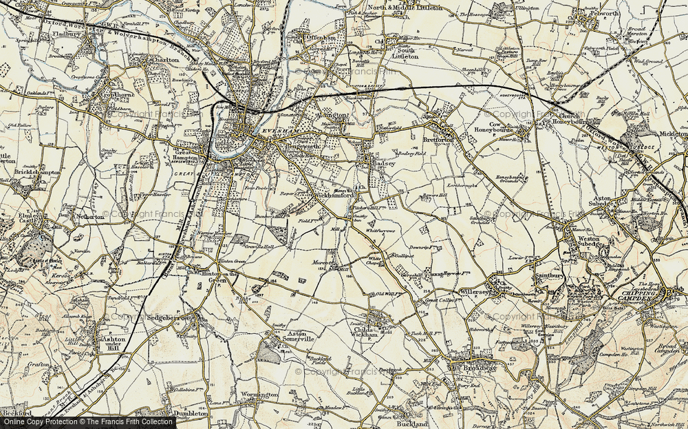 Old Map of Historic Map covering Badsey Brook in 1899-1901