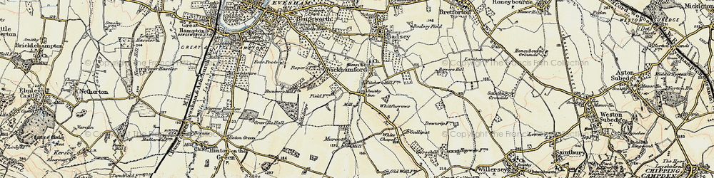 Old map of Wickhamford in 1899-1901