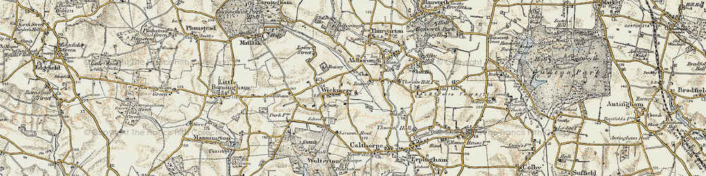 Old map of Wickmere in 1901-1902