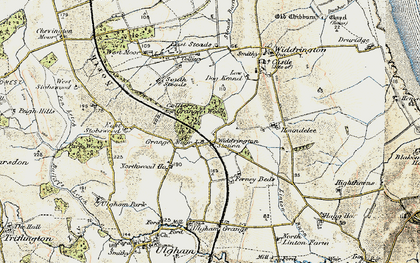 Old map of Widdrington Station in 1901-1903