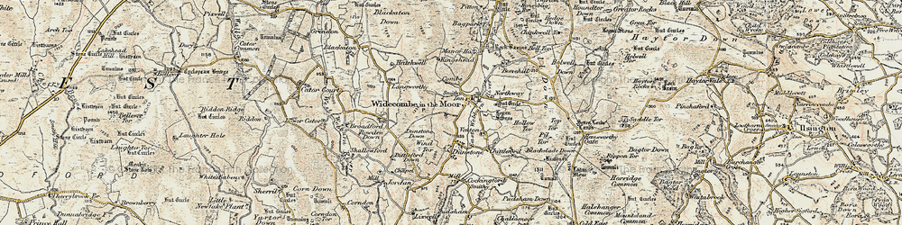 Old map of Widecombe in the Moor in 1899-1900