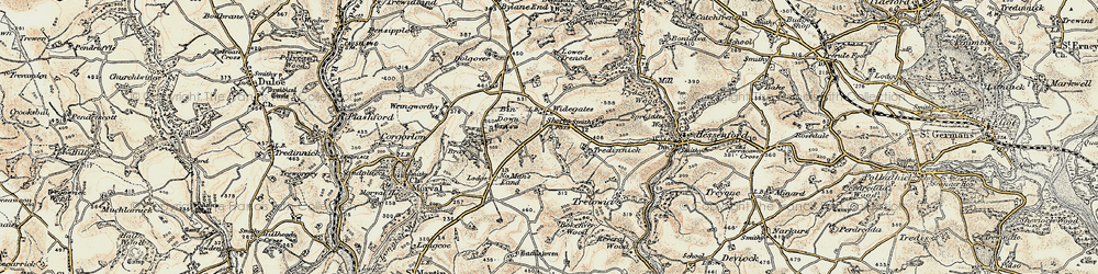 Old map of Widegates in 1900