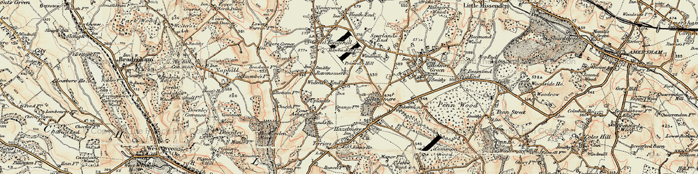 Old map of Widmer End in 1897-1898