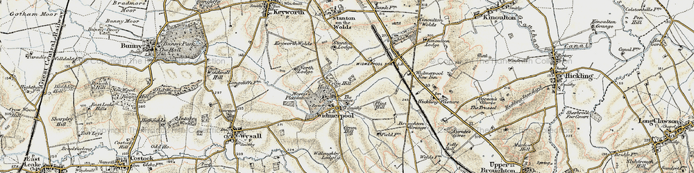 Old map of Widmerpool in 1902-1903