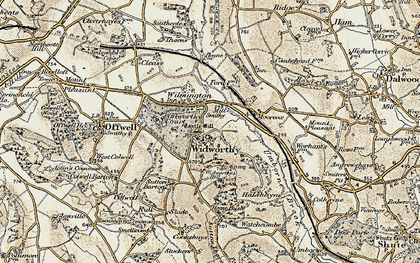 Old map of Widworthy Hill in 1898-1900