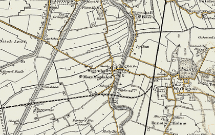 Old map of Wiggenhall St Mary Magdalen in 1901-1902