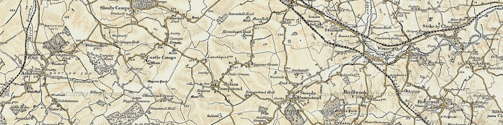 Old map of Wiggens Green in 1898-1901