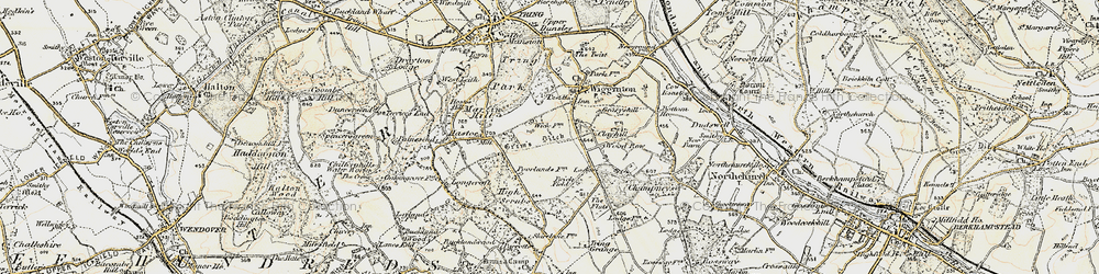 Old map of Wigginton Bottom in 1898