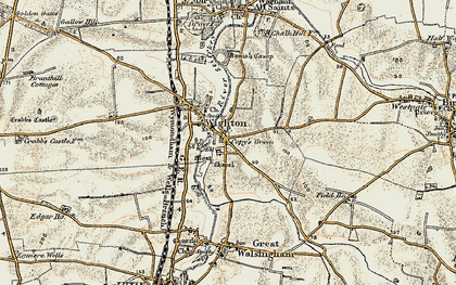 Old map of Wighton in 1901-1902