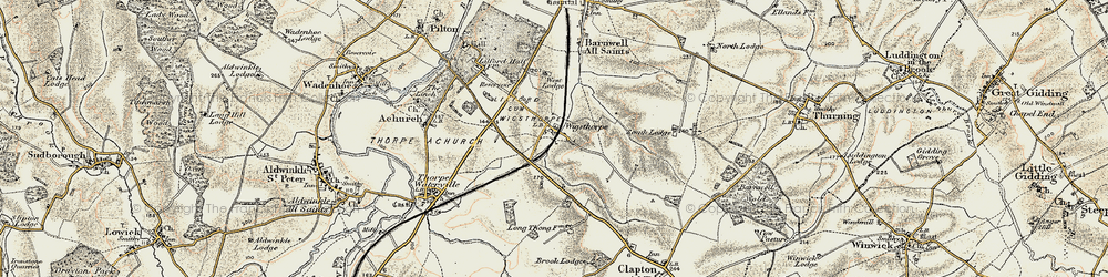 Old map of Wigsthorpe in 1901-1902