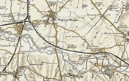 Old map of Wigston Harcourt in 1901-1903
