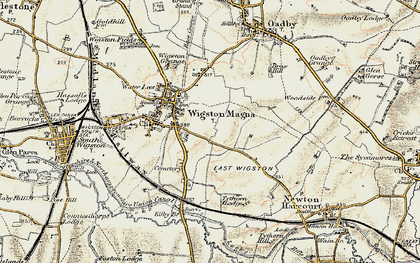 Old map of Wigston Magna in 1901-1903