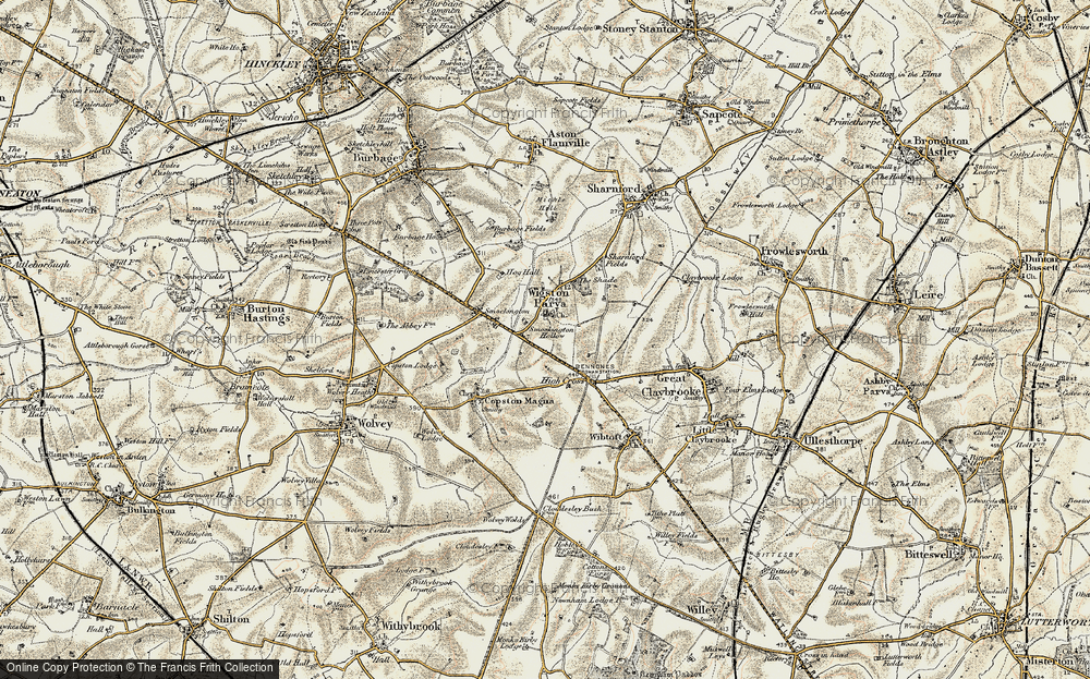Old Map of Historic Map covering Leicestershire Round, The in 1901-1902