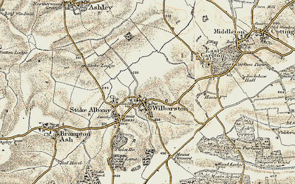 Old map of Wilbarston in 1901-1902