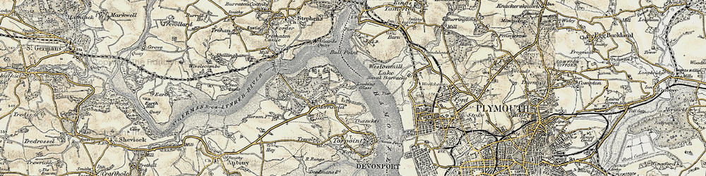Old map of Wilcove in 1899-1900