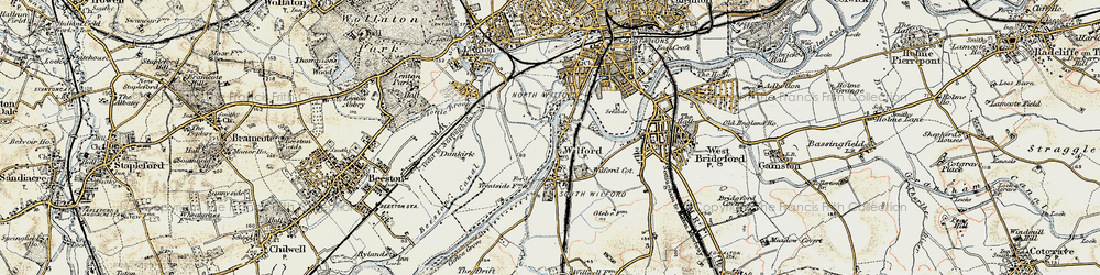 Old map of Wilford in 1902-1903