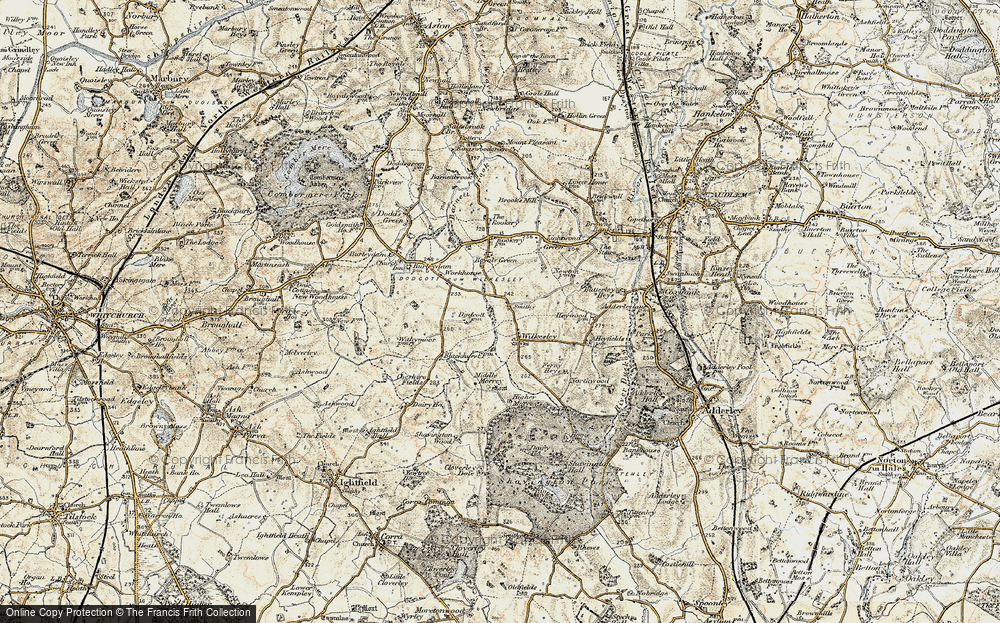 Old Map of Wilkesley, 1902 in 1902