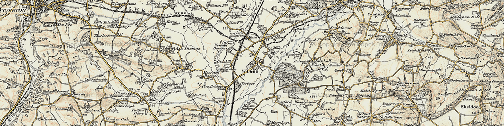 Old map of Willand in 1898-1900
