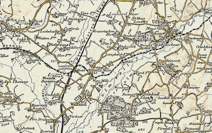 Old map of Willand Moor in 1898-1900
