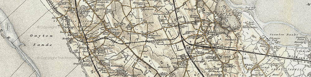 Old map of Willaston in 1902-1903