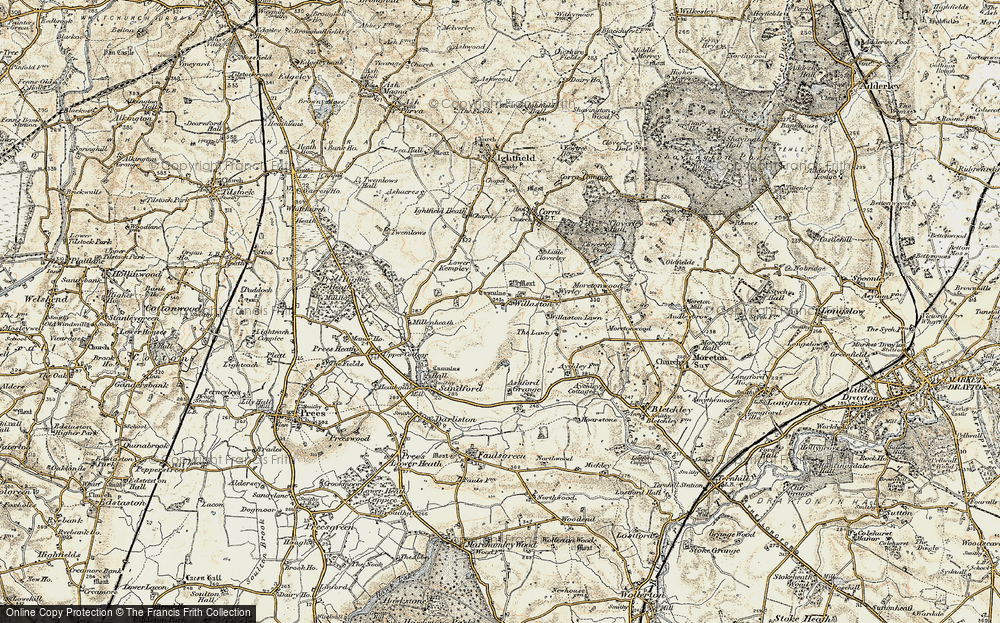 Old Map of Historic Map covering Lawn Cottage in 1902