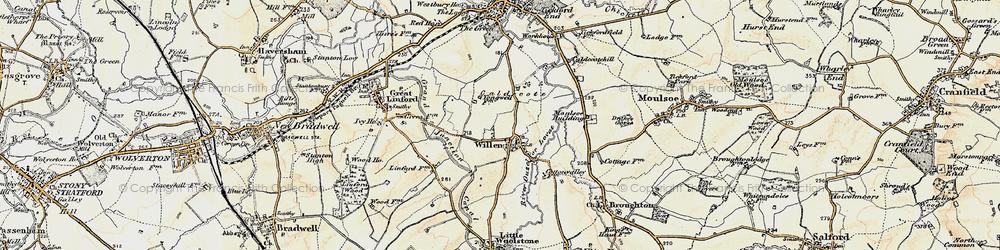 Old map of Willen in 1898-1901