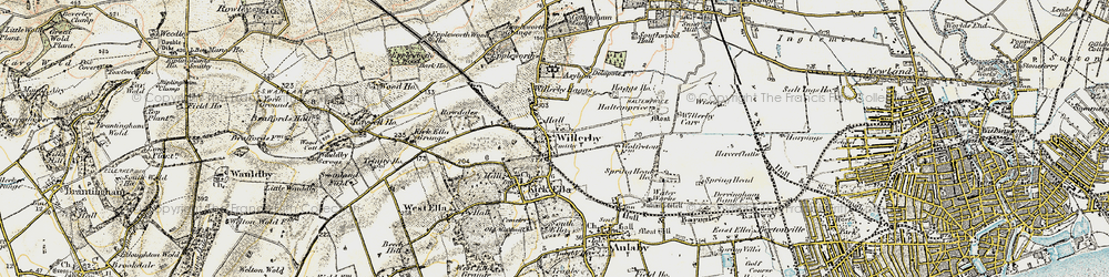 Old map of Willerby in 1903-1908