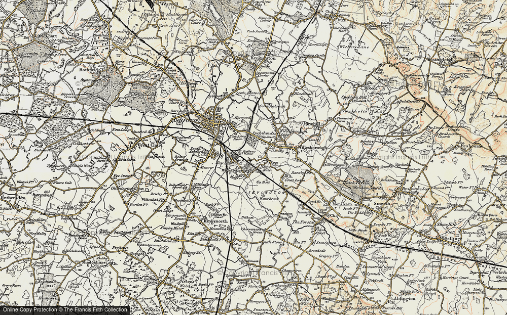 Old Map of Willesborough, 1897-1898 in 1897-1898