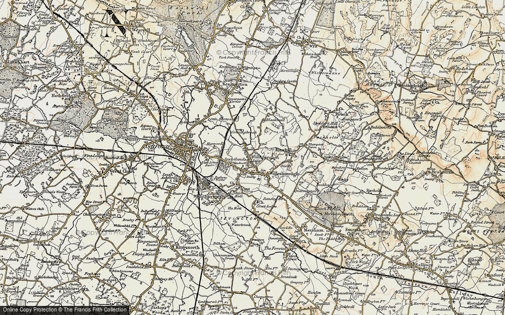 Old Map of Willesborough Lees, 1897-1898 in 1897-1898