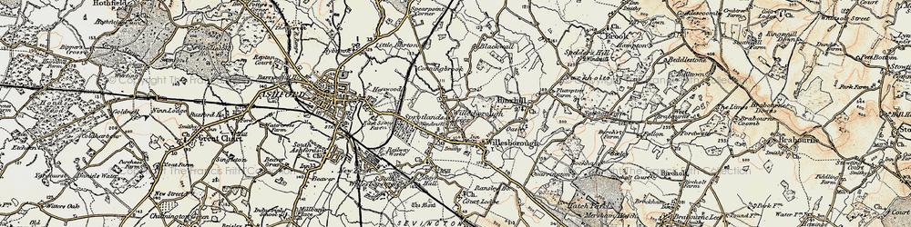 Old map of Willesborough Lees in 1897-1898