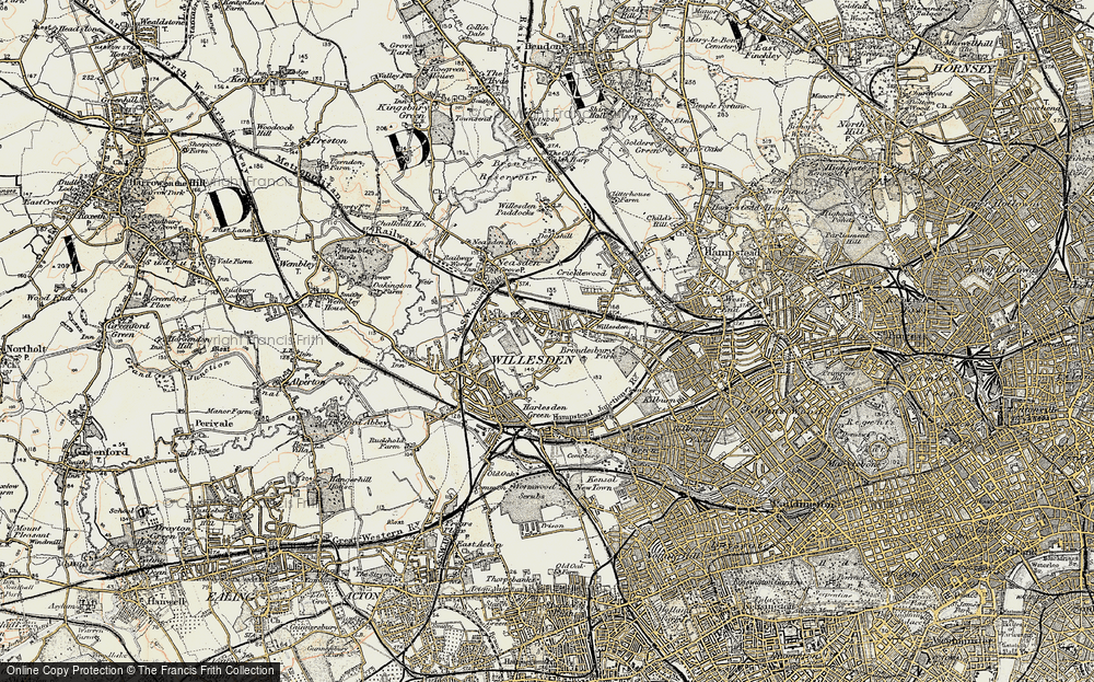 Old Map of Willesden, 1897-1909 in 1897-1909