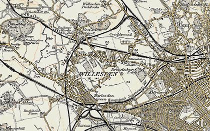 Old map of Willesden in 1897-1909