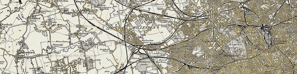 Old map of Willesden Green in 1897-1909