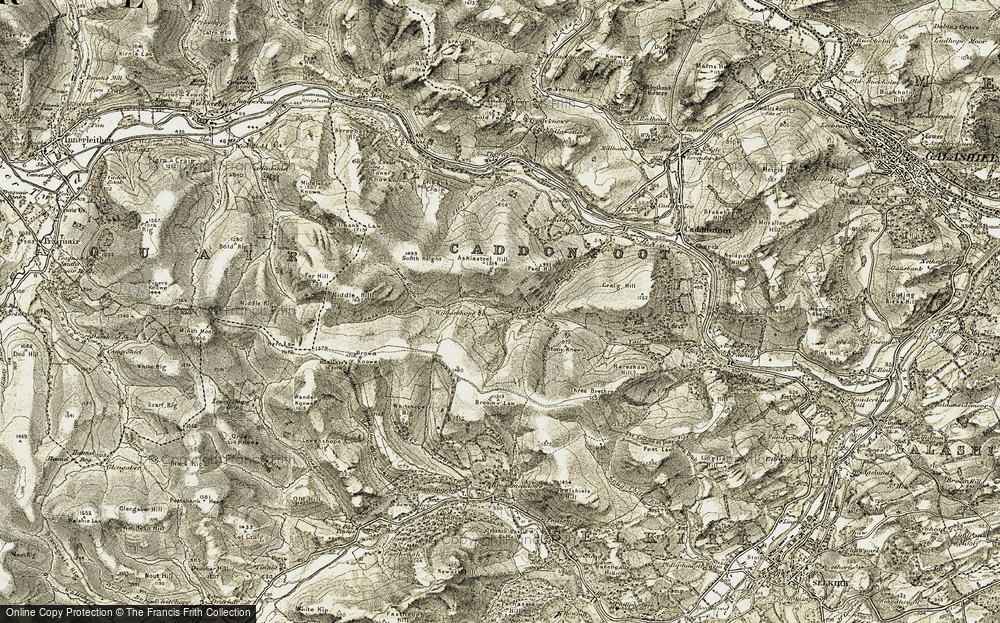 Old Map of Historic Map covering Ashiestiel Hill in 1904