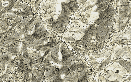Old map of Leithenwater Forest in 1903-1904