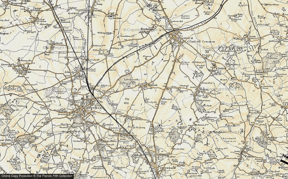 Old Map of Willian, 1898-1899 in 1898-1899