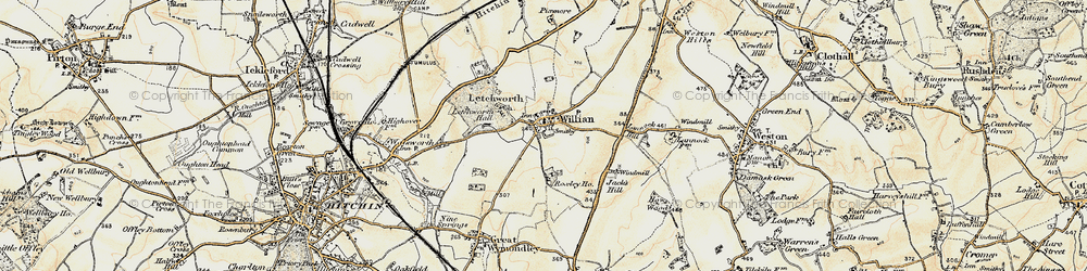 Old map of Willian in 1898-1899