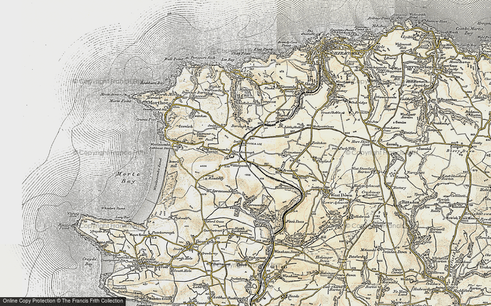 Old Map of Willingcott, 1900 in 1900