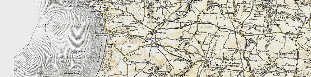 Old map of Willingcott in 1900