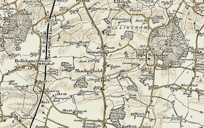Old map of Willingham in 1901-1902