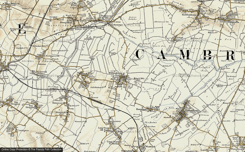 Old Map of Historic Map covering Cambridgeshire in 1901