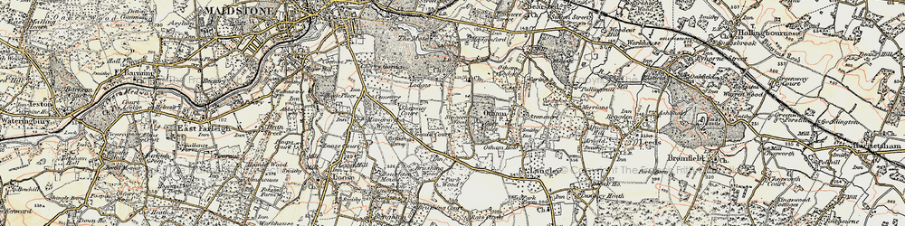 Old map of Willington in 1897-1898