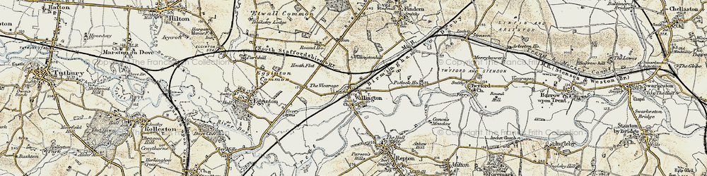 Old map of Willington in 1902