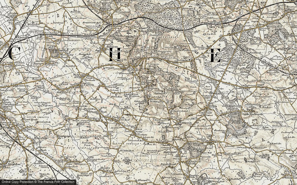 Old Map of Willington Corner, 1902-1903 in 1902-1903