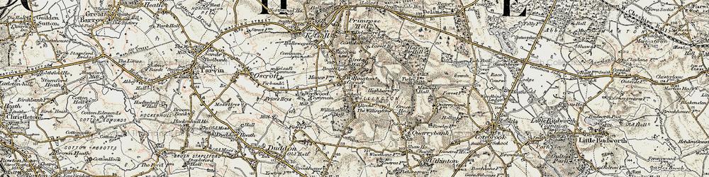 Old map of Willington Corner in 1902-1903