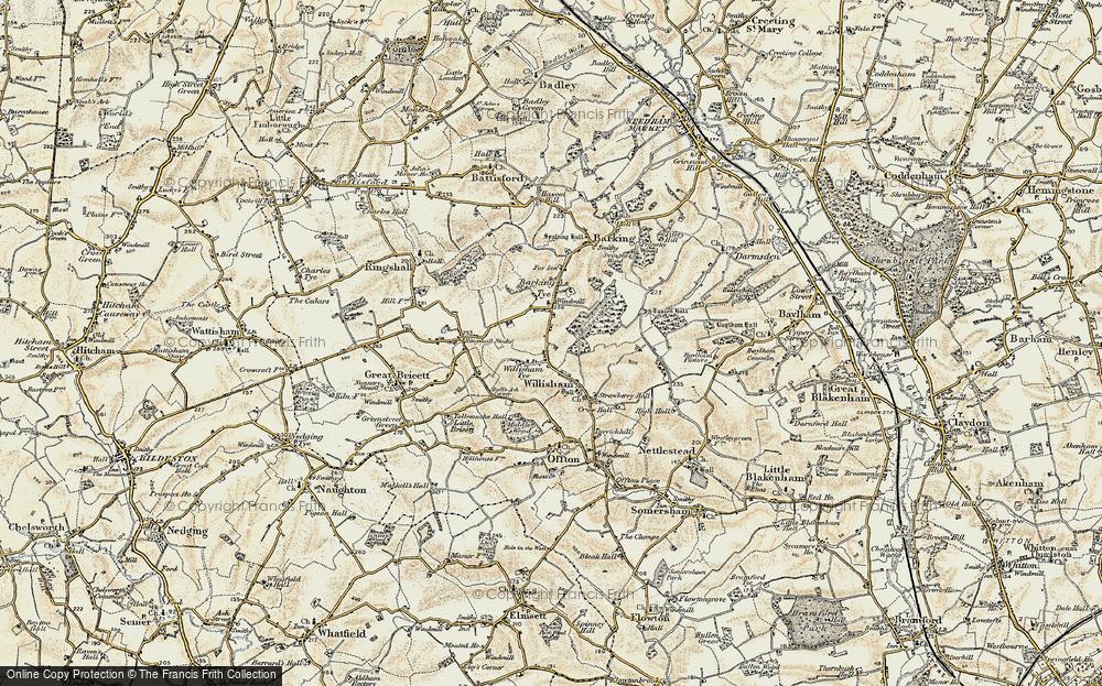 Old Map of Willisham Tye, 1899-1901 in 1899-1901