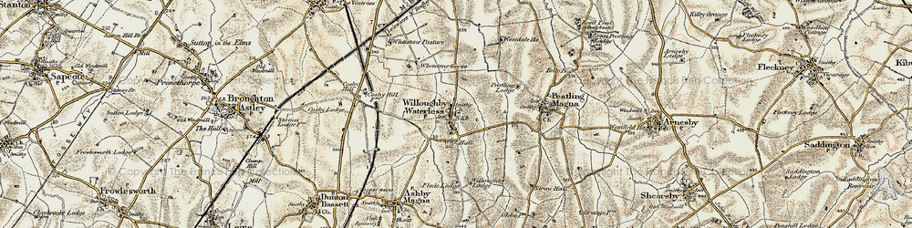 Old map of Whetstone Brook in 1901-1902