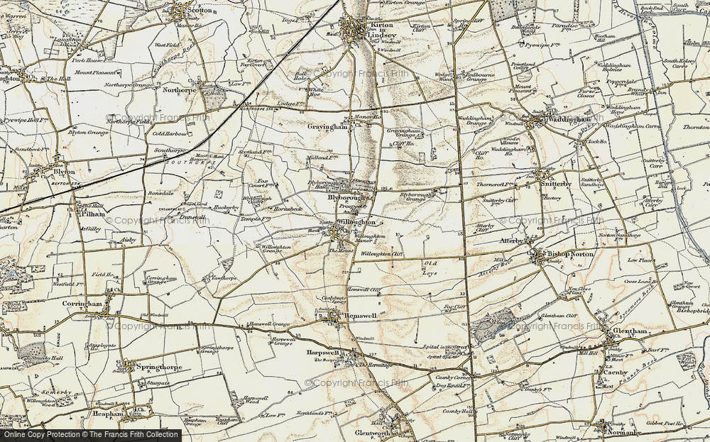 Old Map of Historic Map covering Willoughton Cliff in 1903